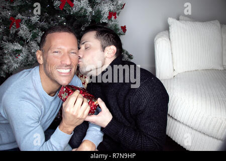 Gay male couple exchanging christmas gift in front of tree, kissing and smiling - Stock Image