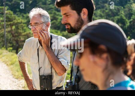 France, Drome, Vercors, Diois, Saillans, wildlife reserve of Grand Barry, with Gilbert Cochet, naturalist, and Clement custodian of the reserve - Stock Image