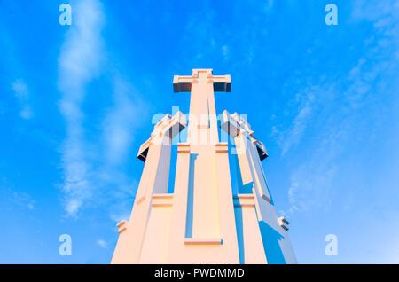 Three Crosses monument in Vilnius, Lithuania - Stock Image
