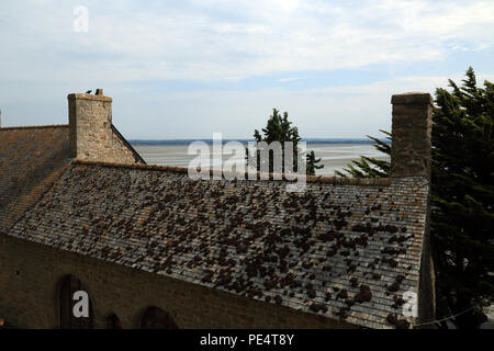 View of roof tops from Remparts, Le Mont Saint Michel, Manche, Normandy, France - Stock Image
