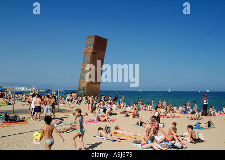 people Sculture by Rebecca Horn sculpture by Rebecca horn on Barceloneta beach  - Stock Image