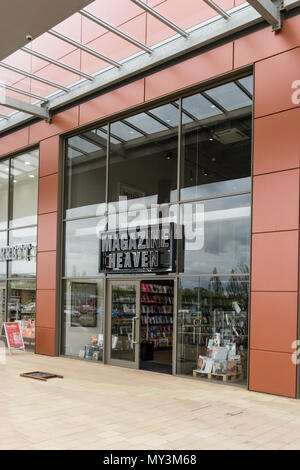 Magazine Heaven, an independent retailer specialising in the sale of magazines; Rushden Lakes Shopping Centre, Northamptonshire, UK - Stock Image