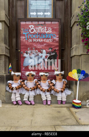Poster for the Trockadero Ballet with four spoof ballerinas made out of plastic plant pots; Opera House, Buxton, Derbyshire, UK - Stock Image