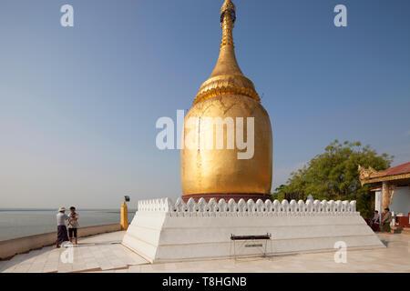 Bu Paya and Ayeyarwady river, Old Bagan village, Mandalay region, Myanmar, Asia - Stock Image
