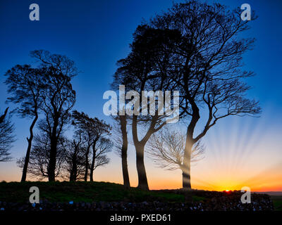 Tissington, UK. 22nd Oct, 2018. UK Weather: Moat Low Derbyshire spectacular sunset over the Bronze Age Round Barrow near Tissington in the Peak District National Park Credit: Doug Blane/Alamy Live News - Stock Image