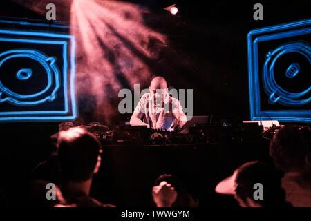 Copenhagen, Denmark. 23rd June, 2019. Copenhagen, Denmark - June 23rd, 2019. The English music producer, DJ and composer Mr. Scruff performs a live DJ-set at Pumpehuset in Copenhagen. (Photo Credit: Gonzales Photo/Alamy Live News - Stock Image