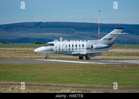 A BAe 125 800XP Civil Jet arriving at Inverness Dalcross Airport in Highland Region Scotland. - Stock Image