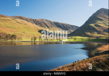 A scenic view of the popular Buttermere Lake in the English lake district Cumbria. England UK - Stock Image