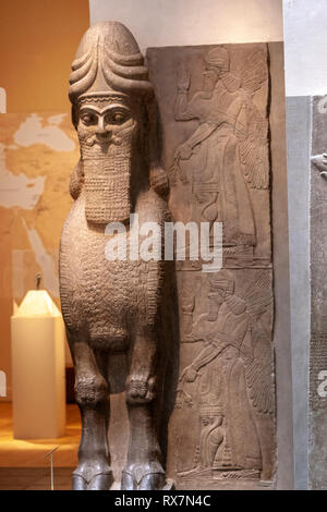 Human-headed winged bull (lamassu), Assyrian, The Metropolitan Museum of Art, Manhattan, New York USA - Stock Image