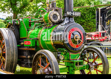 Green steam engine at Northumberland County Show, 2018. - Stock Image