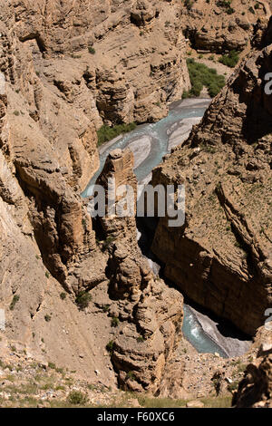 India, Himachal Pradesh, Spiti, deep river gorge between Chichim village and Kibber - Stock Image