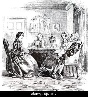 An engraving depicting women gossiping round the tea urn. Dated 19th century - Stock Image