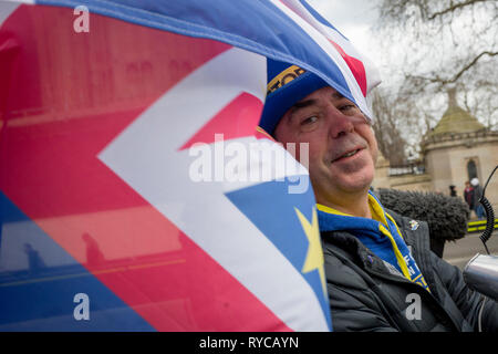 Prominent Brexit activist, Steve Bray protests on College Greeen in Westminster, the morning after another of Prime Minister Theresa May's Brexit deal votes failed again in Parliament, on 13th March 2019, in London, England. - Stock Image