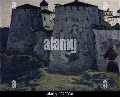 Work by Nicholas Roerich . before 1947 22 Izborsk-towers-1903-1.jpg!PinterestLarge - Stock Image