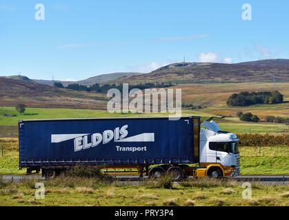 Elddis Transport HGV. M6 Northbound carriageway, Shap, Cumbria, England, United Kingdom, Europe. - Stock Image