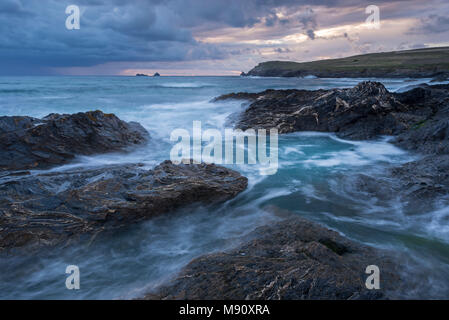 Stormy conditions at Booby's Bay near Trevose Head, Cornwall, England. September (August) 2017. - Stock Image