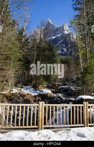 View to Pic de Tenneverge in Le massif du Giffre in French Alps. Samoens, Haute Savoie, Rhone-Alpes, France, Europe. - Stock Image