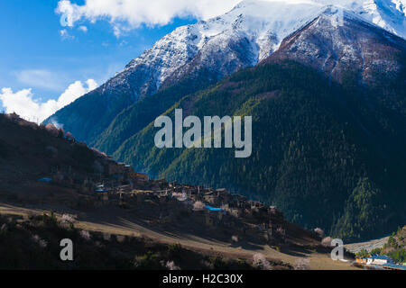 Landscape Himalays Mountains.Asia Nature Morning Viewpoint.Mountain Trekking,View Village Landscape.Horizontal picture. - Stock Image