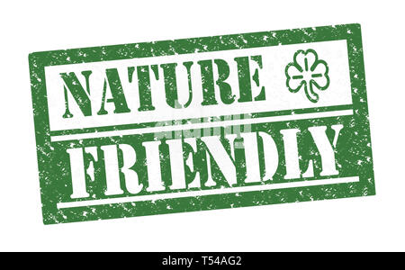 Rubber Stamp nature friendly, text on white illustration - Stock Image