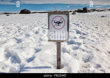 12 April 2018: Vatnajokull National Park, Iceland - No Drones sign. - Stock Image