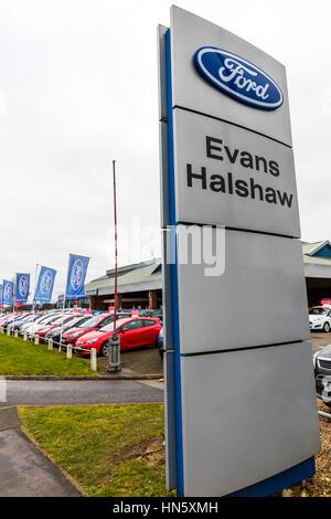 Evans Halshaw car dealer dealership garage forecourt car sales selling cars new cars for sale UK England - Stock Image