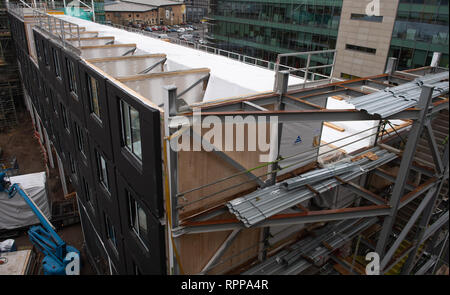 Construction of new Moxy hotel situated in Southampton UK using CLT modular pods constructed offsite. - Stock Image