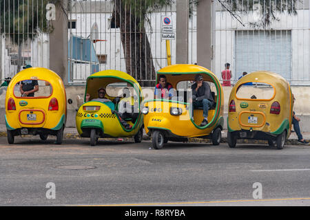 Cuban Coco Taxi drivers having a break before searching for more passengers in their distinctive yellow taxis. Havana Cuba - Stock Image