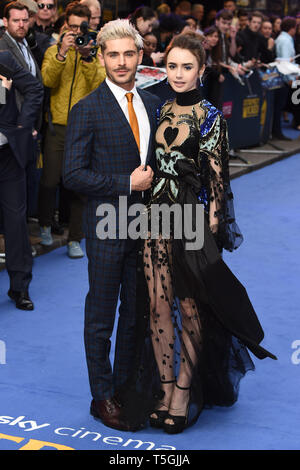 London, UK. 24th Apr, 2019. LONDON, UK. April 24, 2019: Zac Efron & Lily Collins arriving for the 'Extremely Wicked, Shockingly Evil And Vile' premiere at the Curzon Mayfair, London. Picture: Steve Vas/Featureflash Credit: Paul Smith/Alamy Live News - Stock Image