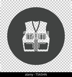 Hunter vest icon. Subtract stencil design on tranparency grid. Vector illustration. - Stock Image