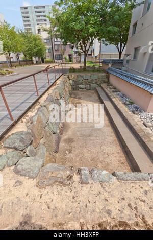 Excavated site of former Kitanosho castle in Fukui, Japan - Stock Image