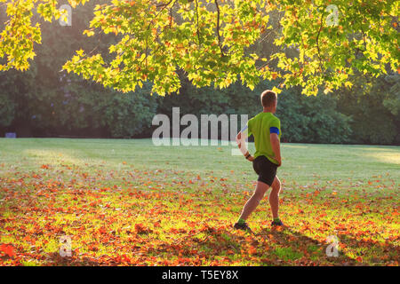 Back view of a man doing morning exercise in the Green park of London - Stock Image