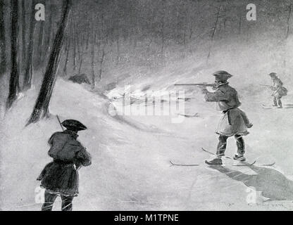 Halftone illustration of Laplanders smoking out a bear, circa 1900. From an original image in How Other People Live - Stock Image