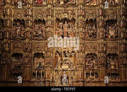 Spain. Seville. Cathedral. Altarpiece. Executed by the Flemish sculptor Pedro Dancart, 1482. - Stock Image