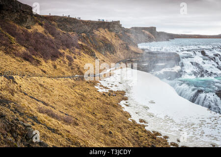 Gullfoss waterfall in winter - Stock Image