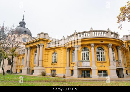 Exterior view of the Széchenyi thermal bath at Budapest, Hungary - Stock Image