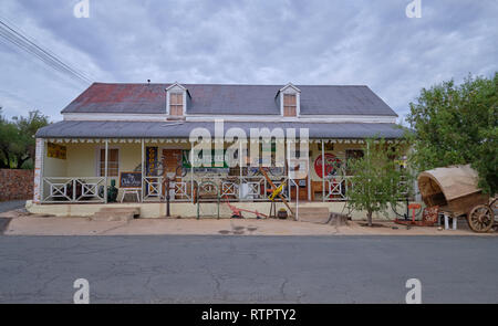Traditional Karoo home architecture. Vintage and Antique Shop. In Prince Albert, South Africa - Stock Image