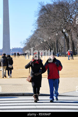 Mother with Autistic Son Visiting the National Mall in Washington DC - Stock Image