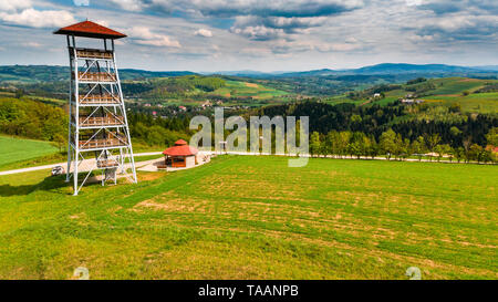 Viewing tower in Brusnik,Poland overlooking rural countryside,aerial view. - Stock Image