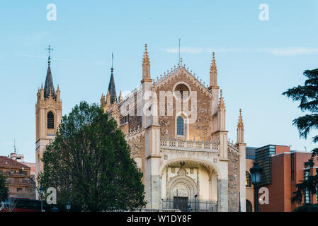 Madrid, Spain - April 14, 2019: View of Jeronimos church and Prado Museum in Madrid at sunset. It is the main Spanish national art museum - Stock Image