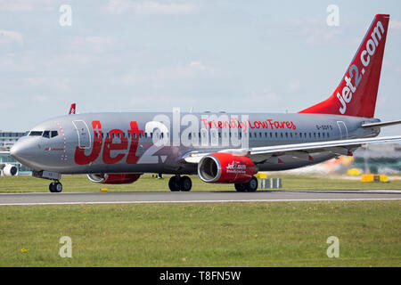 Jet2 Boeing 737-800, registration G-GDFS, taking off from Manchester Airport, England. - Stock Image