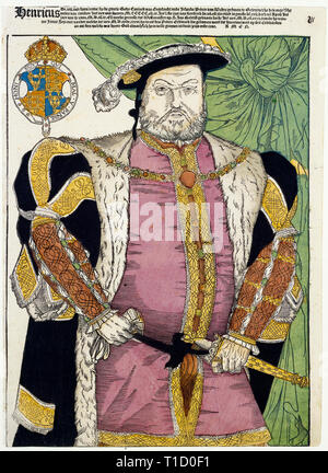 Coloured engraving portrait of King Henry VIII of England by Cornelis Anthonisz, after Hans Holbein II, 1547 - Stock Image
