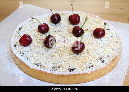 Streusel cherries tart - Stock Image
