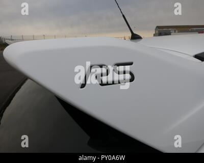 Ford Focus RS mk3 shown at donnington park race circuit at the RS owners club national day 2018 showing rear aerodynamic spoiler with gel badge inlay - Stock Image