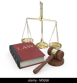 Classic set of Gavel hammer on sound block, Law book and a Scale of justice. 3D render. - Stock Image