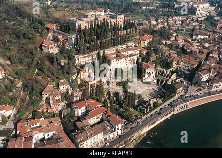Veneto Verona View With The Roman Theatre - Stock Image