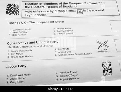 Scottish ballot paper for  European Parliament election, Electoral Region of Scotland, May 2019 - Stock Image