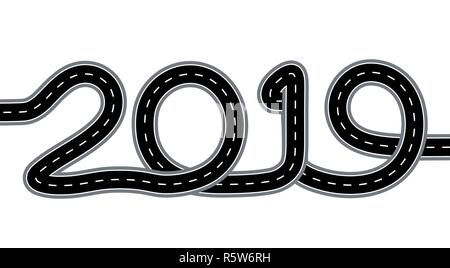 2019 New Year. The road is stylized as an inscription. Isolated On White Background. Illustration - Stock Image