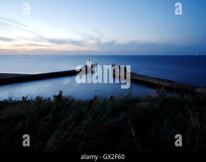 Whitby harbour at night Esk Valley North Yorkshire Moors England United Kingdom UK Great Britain GB Steam heritage - Stock Image