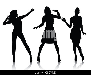 woman silhouettes isolated on white background - Stock Image