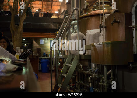 View of beer tanks in Toit Brewpub in Bangalore, India. - Stock Image